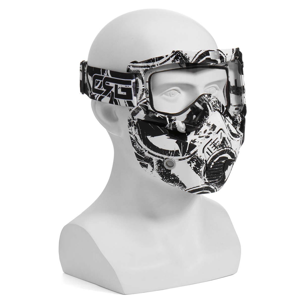 Removable Detachable Modular Full Face Mask Shield Goggles ATV Motorcycle Helmet