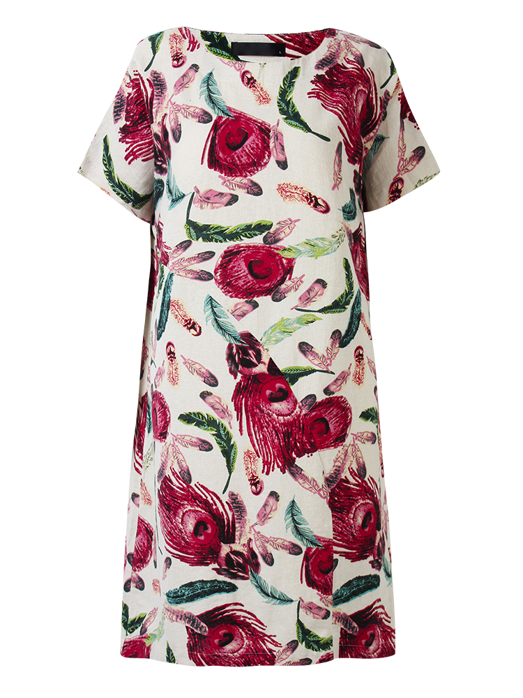 L-5XL Vintage Women Feather Printed Straight Cotton Linen Dress