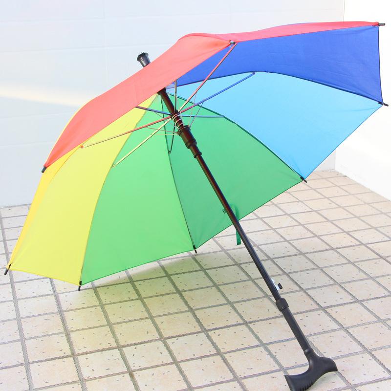 Lifting Walking Stick Umbrella Old Man Parasol Mountaineering Rain Crutch Umbrella Steel Anti-Skidding Climbing Umbrella