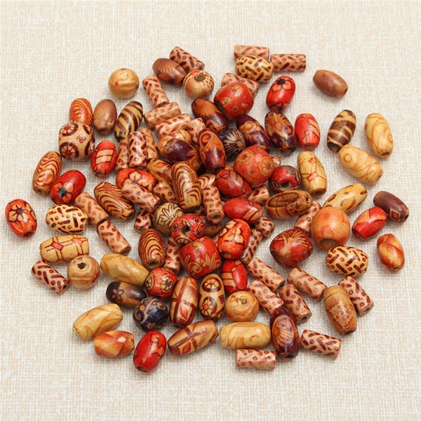 100Pcs Mixed Color Wooden Beads Round Tube Rice Beads DIY Jewelry Accessories