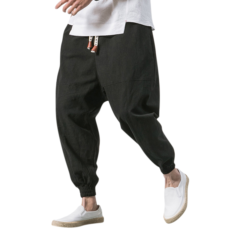 Men's Vintage Cotton Linen Loose Casual Harem Pants