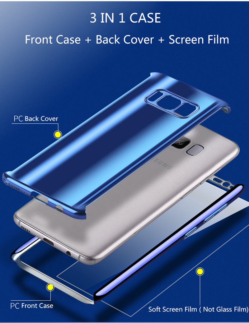 Bakeey Plating 360° Full Body PC Front+Back Cover Case+HD Film For Samsung Galaxy Note 8/S8/S8 Plus/S7 Edge/S7