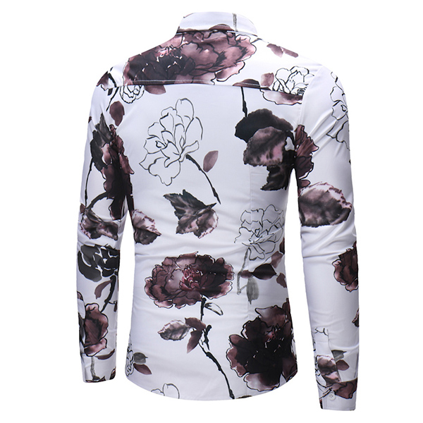Chinese Style Ink Painting Floral Printing Trendy Shirts