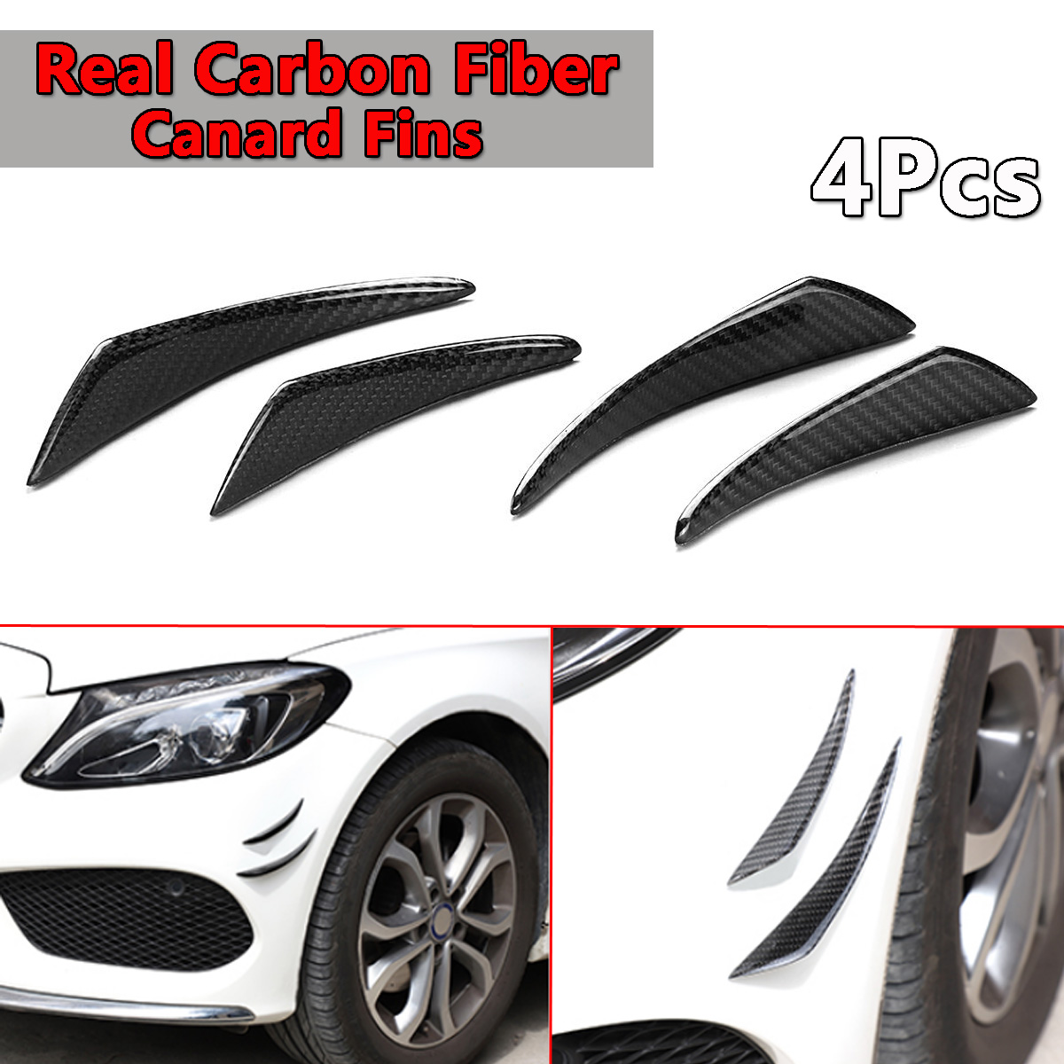 Real Carbon Fiber Side Fins Canards Car Stickers 4PCS for Mercedes-Benz/BMW/Audi/Lexus