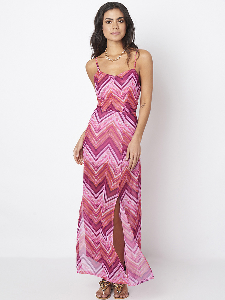 Bohemian Print Backless Bandage Slit Hem Sleeveless Dresses For Women