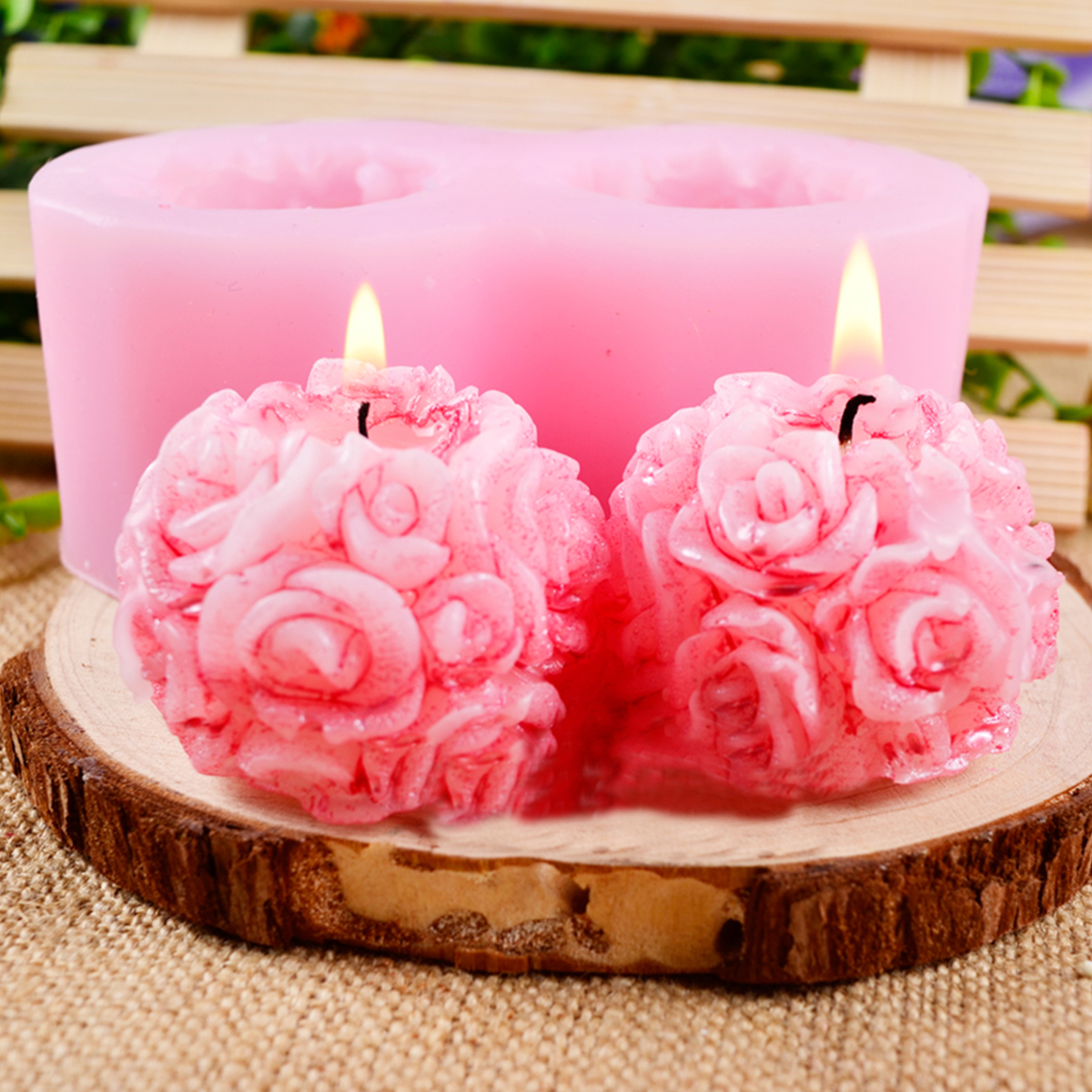 Flexible 3D Rose Flower Ball Mould Soft Silicone Soap Candle Making DIY Mold
