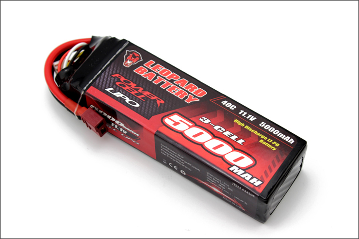 LEOPARD Power 11.1V 5000mAh 40C 3S T Plug Lipo Battery for 1:8 1:10 RC Car