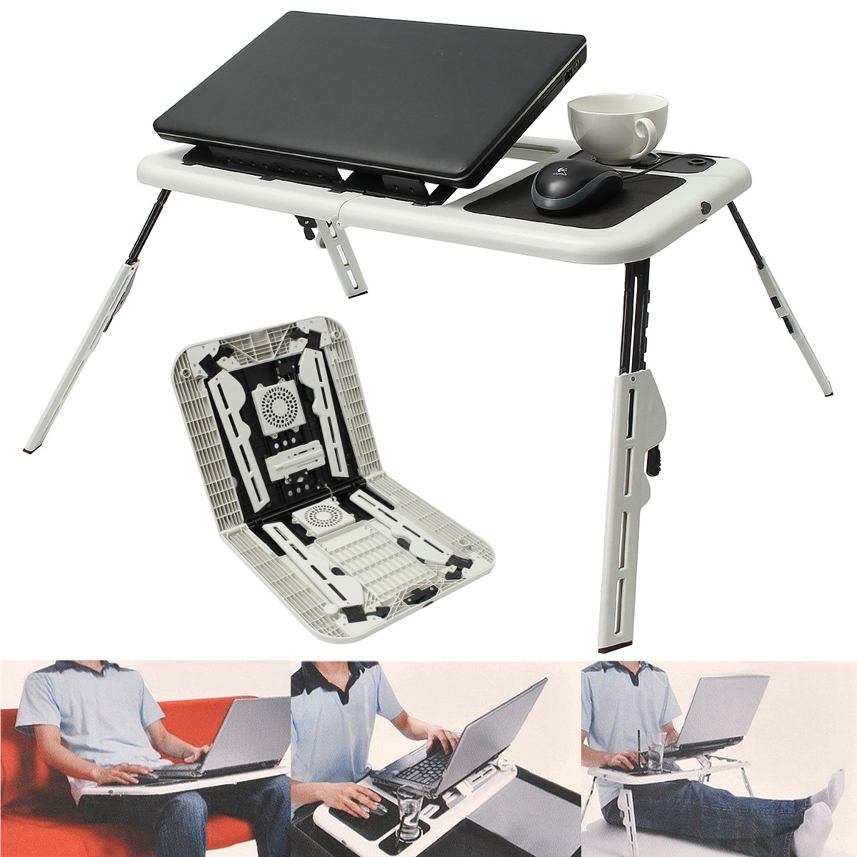 Folding Laptop Notebook Table Stand Tray Desk Holder With 2 USB Cooling Fans For Sofa Bed Lawn