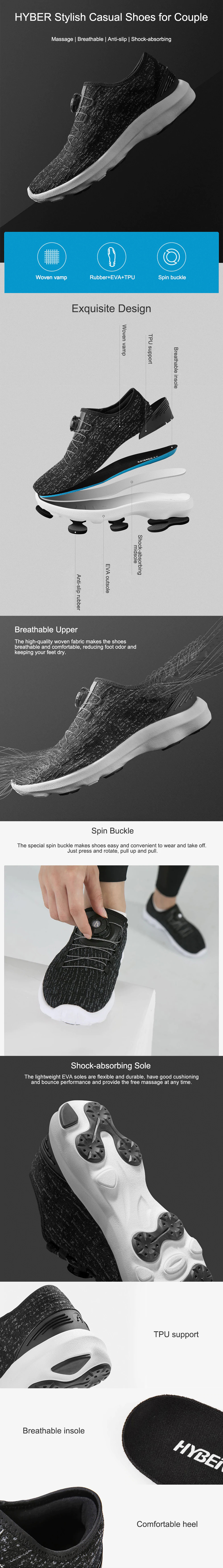 XIAOMI HYBER Outdoor Men Slip-on Fabric Anti-skid Casual Lightweight Breathe Running Shoes Sneakers