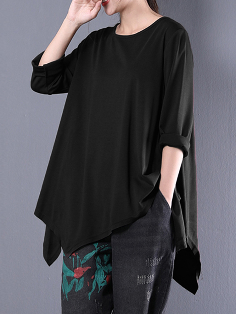 Women Pure Color Casual Loose Asymmetric Tops