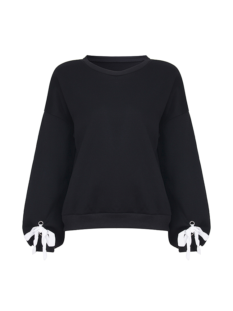 Casual Women Lantern Sleeve Bandage Pure Color Sweaters