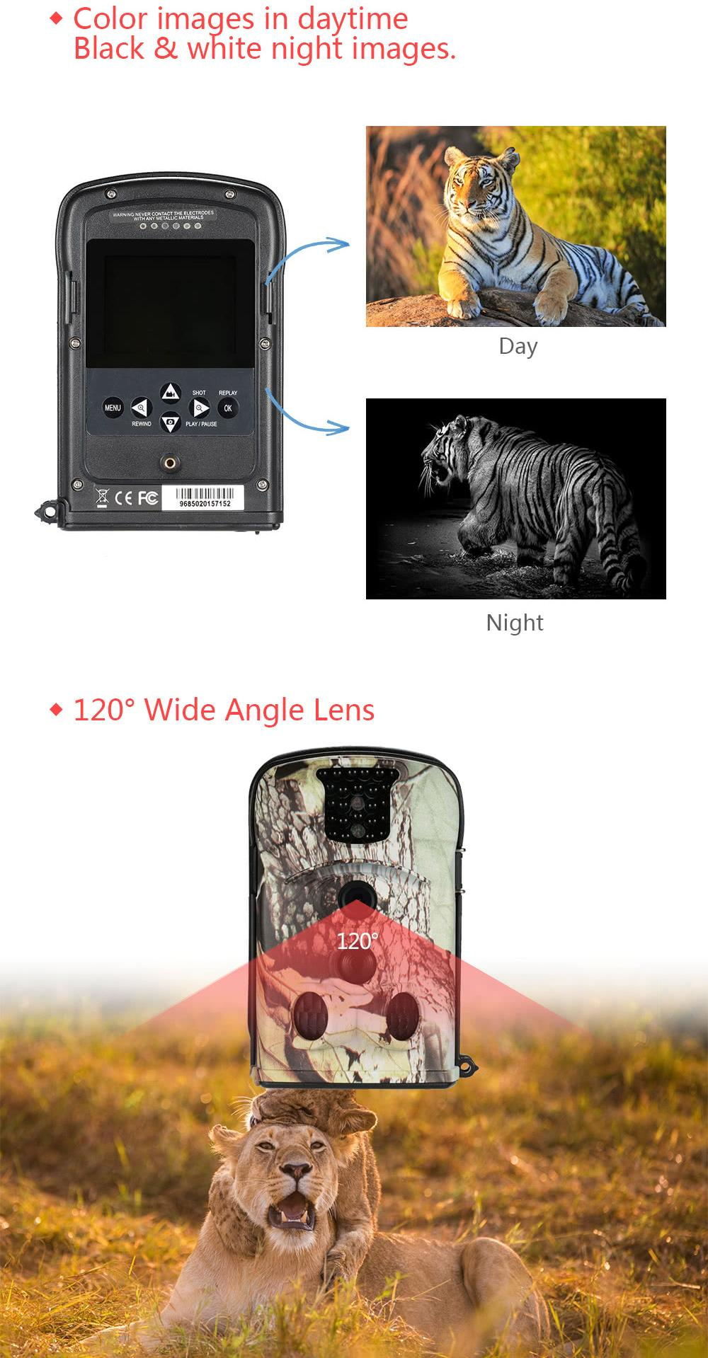 KALOAD 8210A Hunting Camera 120° Wide Angle Lens Wi-Fi Trail Wildlife 12MP 1280 HD Digital Recorder