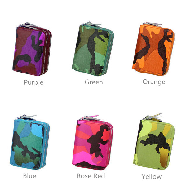 Women Zipper RFID Camouflage Card Holder Genuine Leather Short Purse Coin Bags