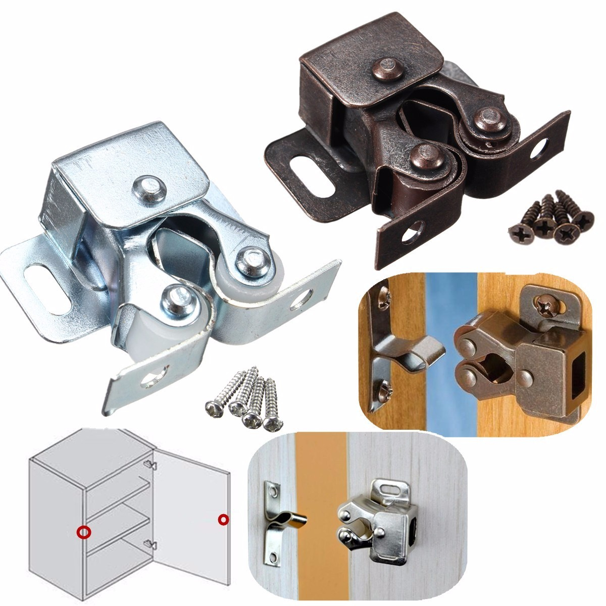 Double Roller Catch Cupboard Cabinet Door Furniture Latch Hardware with Spear Strike