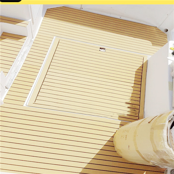 Self Adhesive EVA Foam Teak Sheet Boat Yacht Synthetic Decking 900x2300x6mm Yellow with Black Line