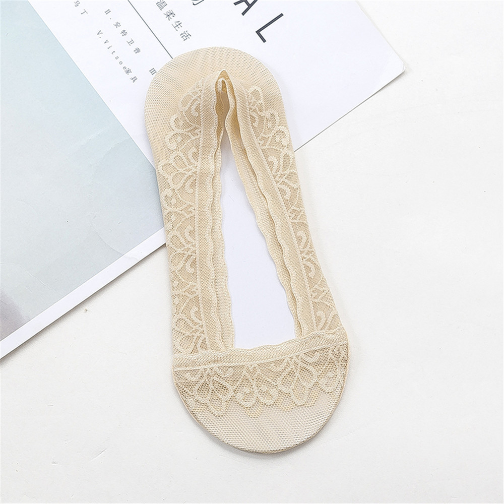 Women Summer Lace High Elastic Invisible Boat Socks