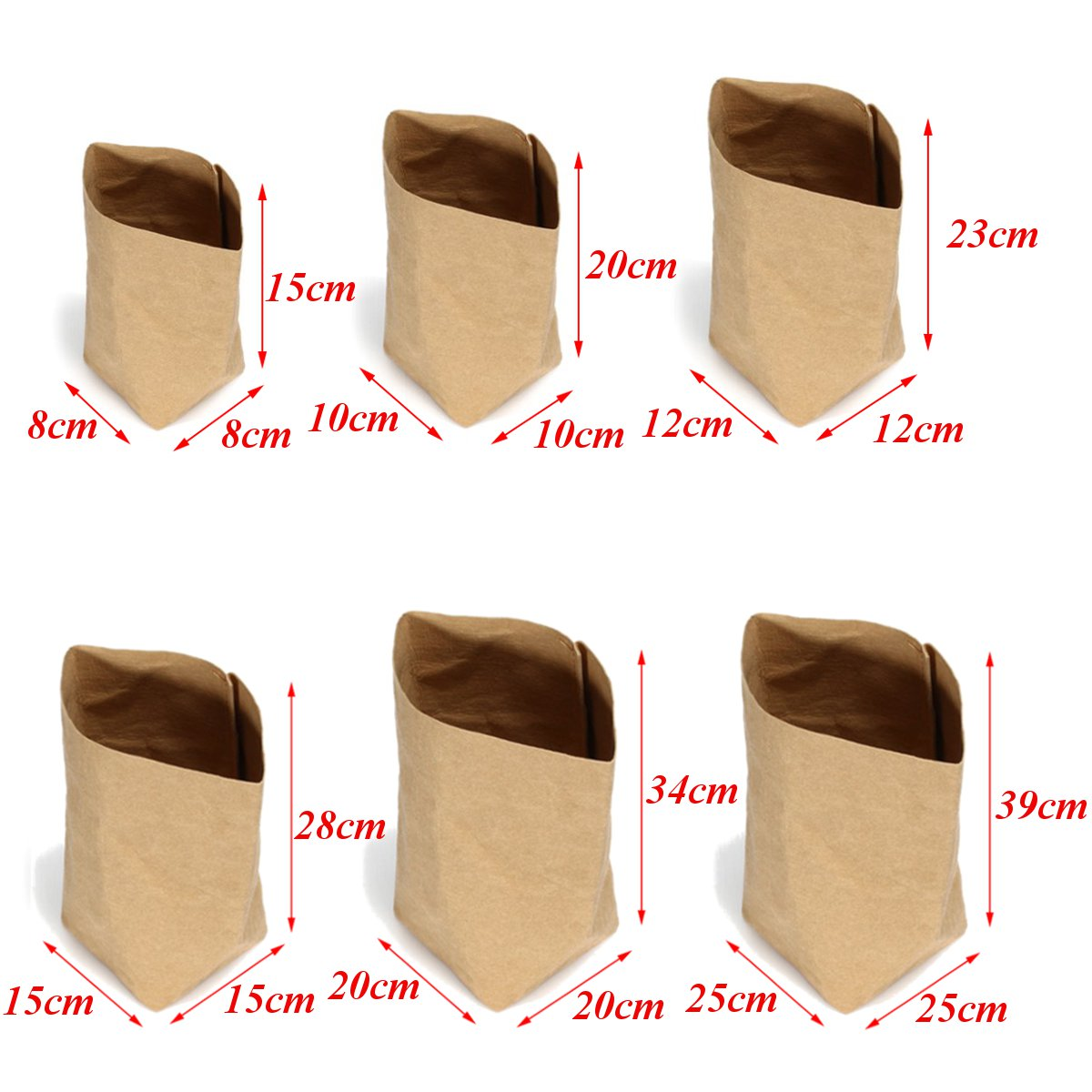 6 Sizes Kraft Paper Storage Bag Eco Friendly Washable Storage Basket Planter Pot Hamper