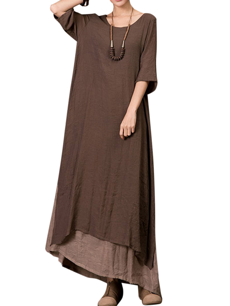 Plus Size Vintage Women Loose Splicing Long Dress