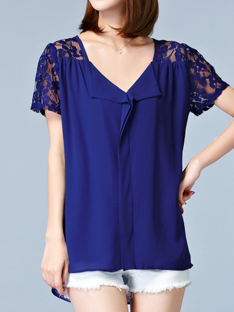 Elegant Women V-Necklace Crochet Patchwork Irregular Hem Chiffon Blouses