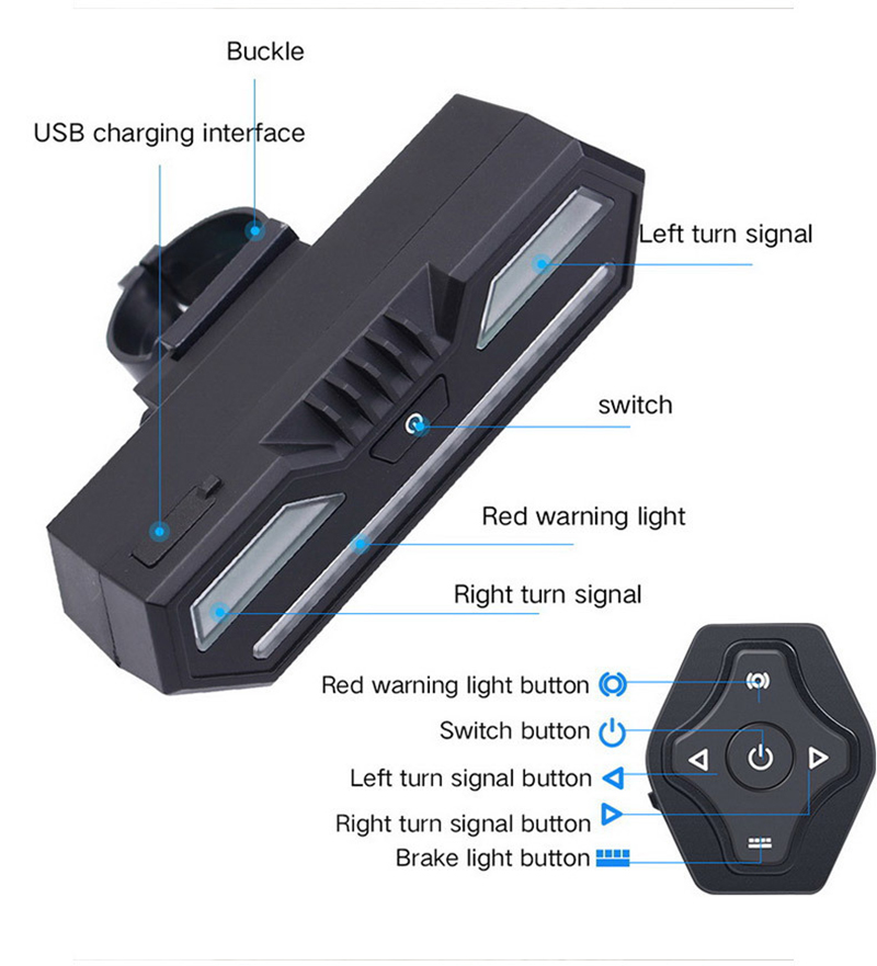 XANES STL14 Bicycle Taillight Turn Signal Warning USB Rechargeable Waterproof Tail Light Cycling Rear Light