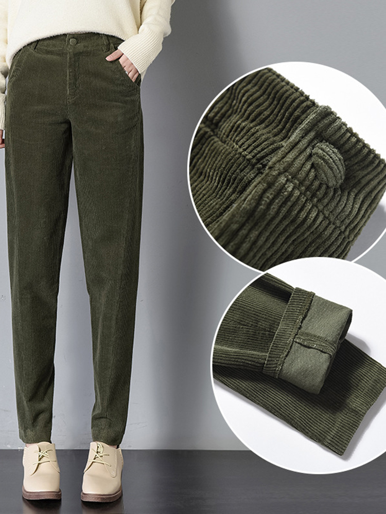 Women Corduroy Pure Color Casual Harem Pants