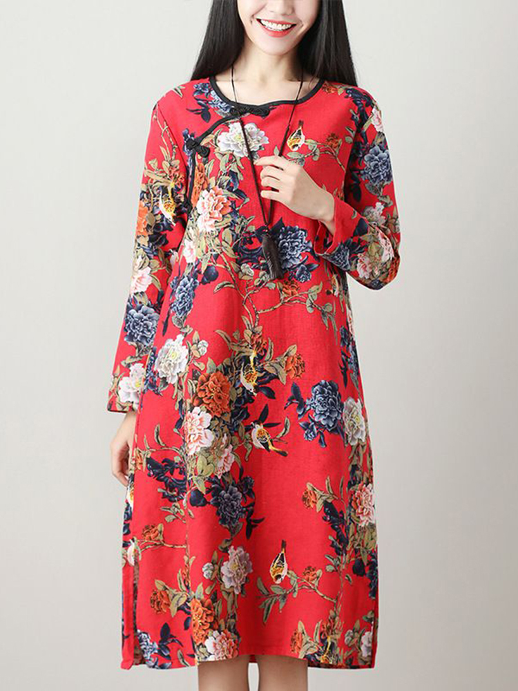 Loose Cotton Linen Floral Printed Split Hem Pocket Dress