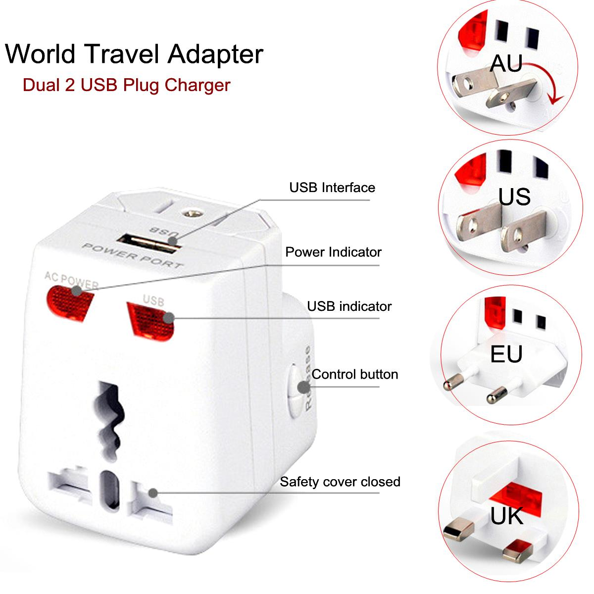 Universal Travel Adapter Dual 2 USB Port Multi Plug Charger Power Converter