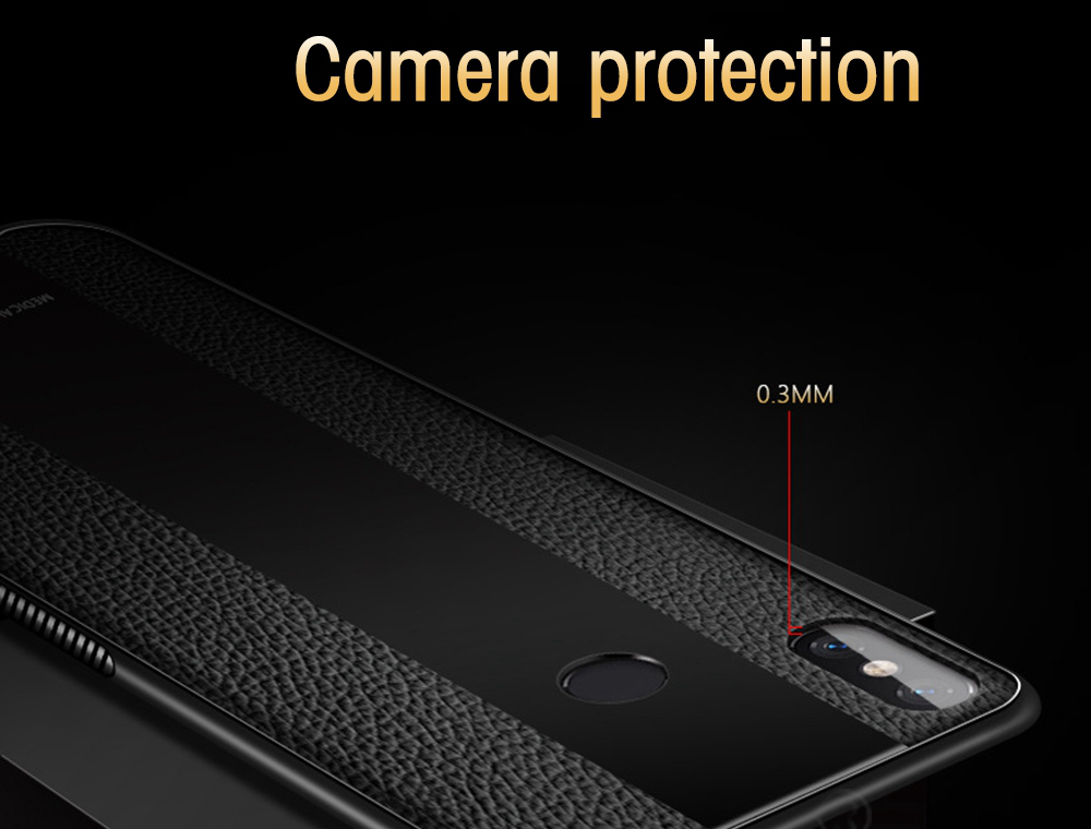 Bakeey Luxury Shockproof Soft Silicone PU Leather Tempered Glass Protective Case For Xiaomi Mi 8 Mi8