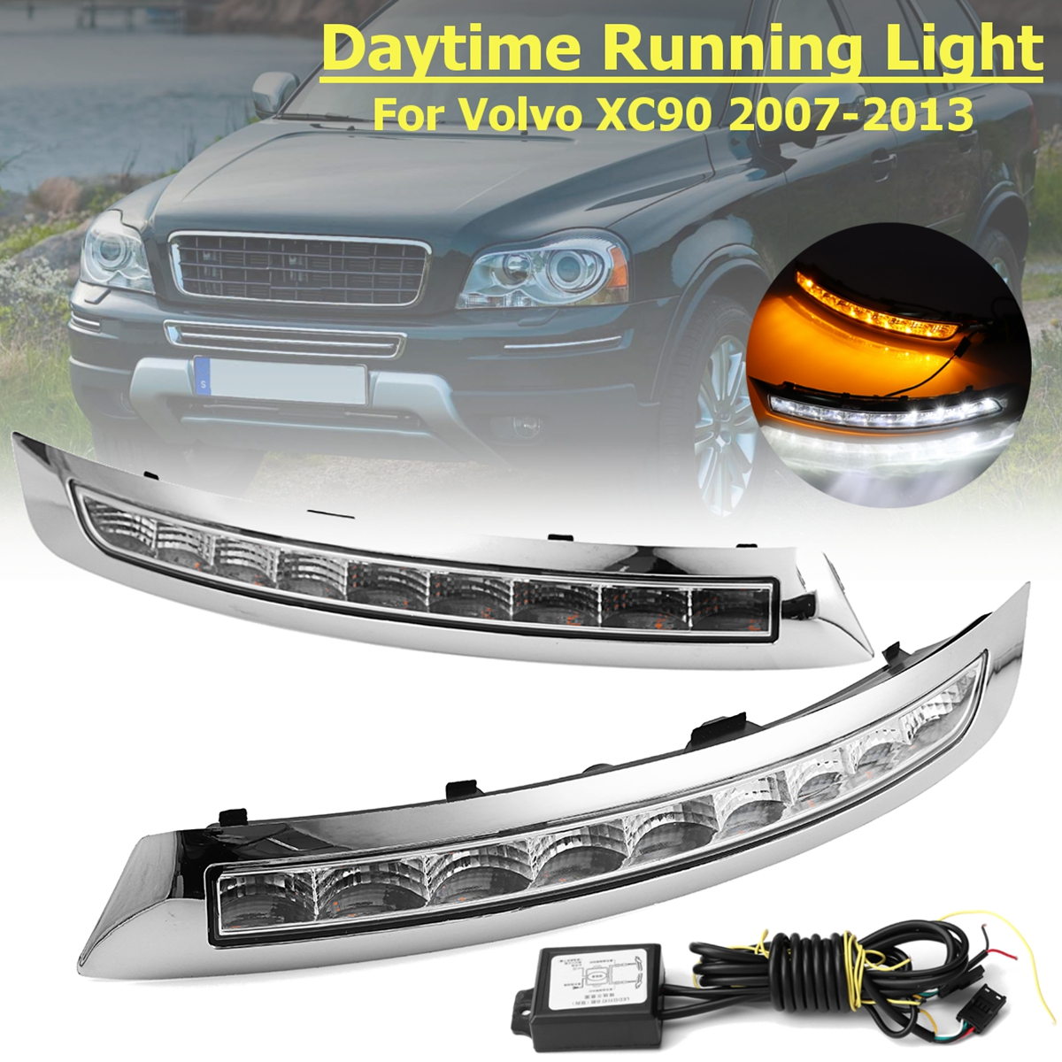 2PCS LED Car Daytime Running Lights DRL Turn Signal Fog Lamps for Volvo XC90 2007-2013