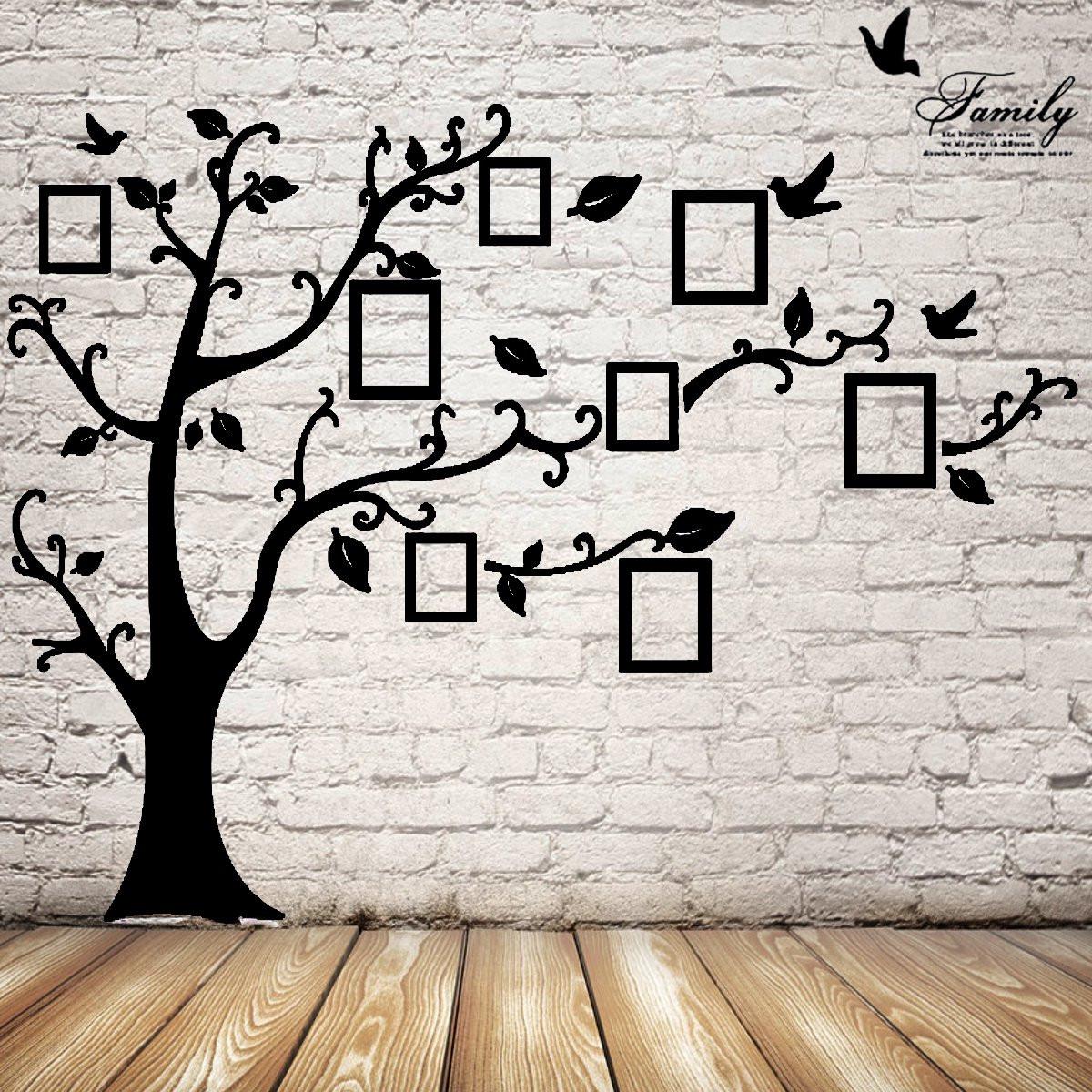 2.5м дерево съемная память фоторамки обои фото стены стикеры декор птица стене комнаты черный