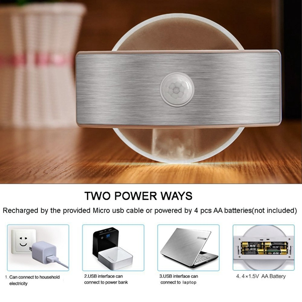 2W Wireless PIR Motion Sensor USB Rechargeable LED Night Light for Wall Stair Corridor Cabinet