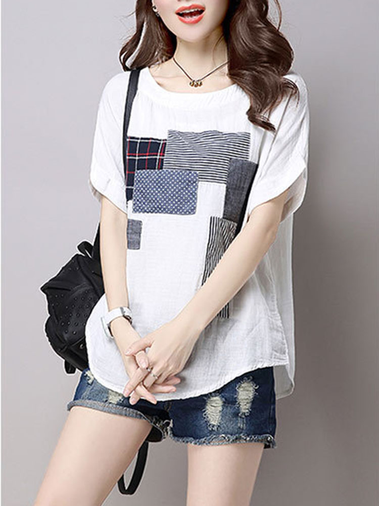 Casual Women Cotton Linen Short Sleeve O-Neck Tops