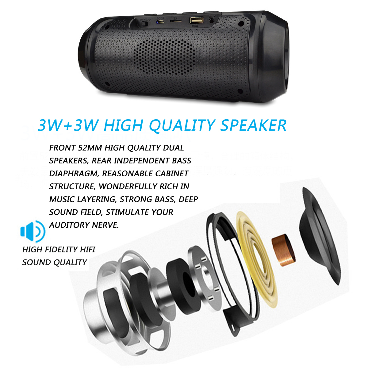 Bakeey Portable Wireless bluetooth Speaker Dual Units Stereo Colorful Light FM Radio TF Card Speaker