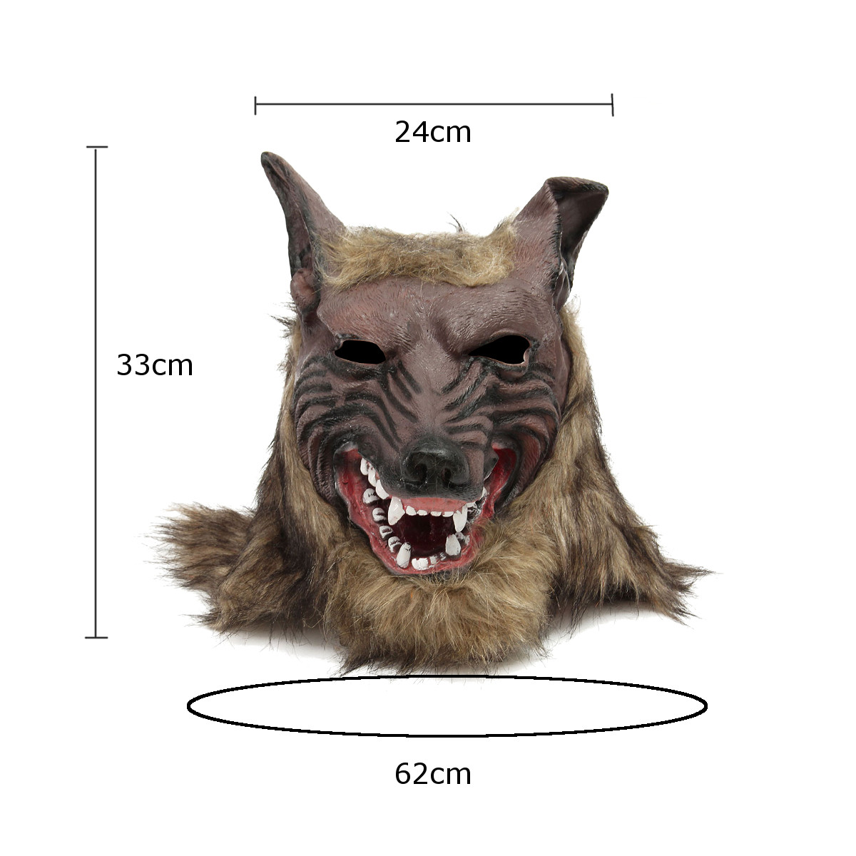 1/2PCS Latex Rubber Wolf Head Hair Mask Werewolf Gloves Party Scary Halloween Cosplay