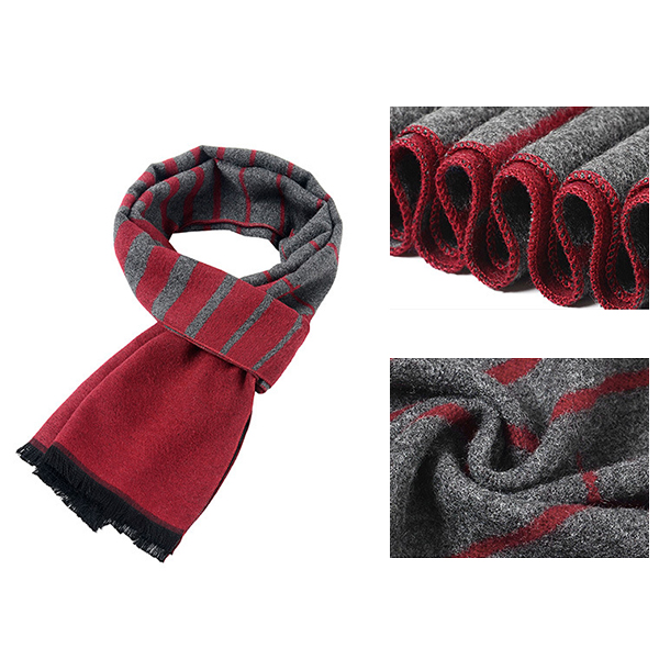 Mens Winter Warm Long Brushed Scarf Casual Soft Striped Printing Tassel Scarves