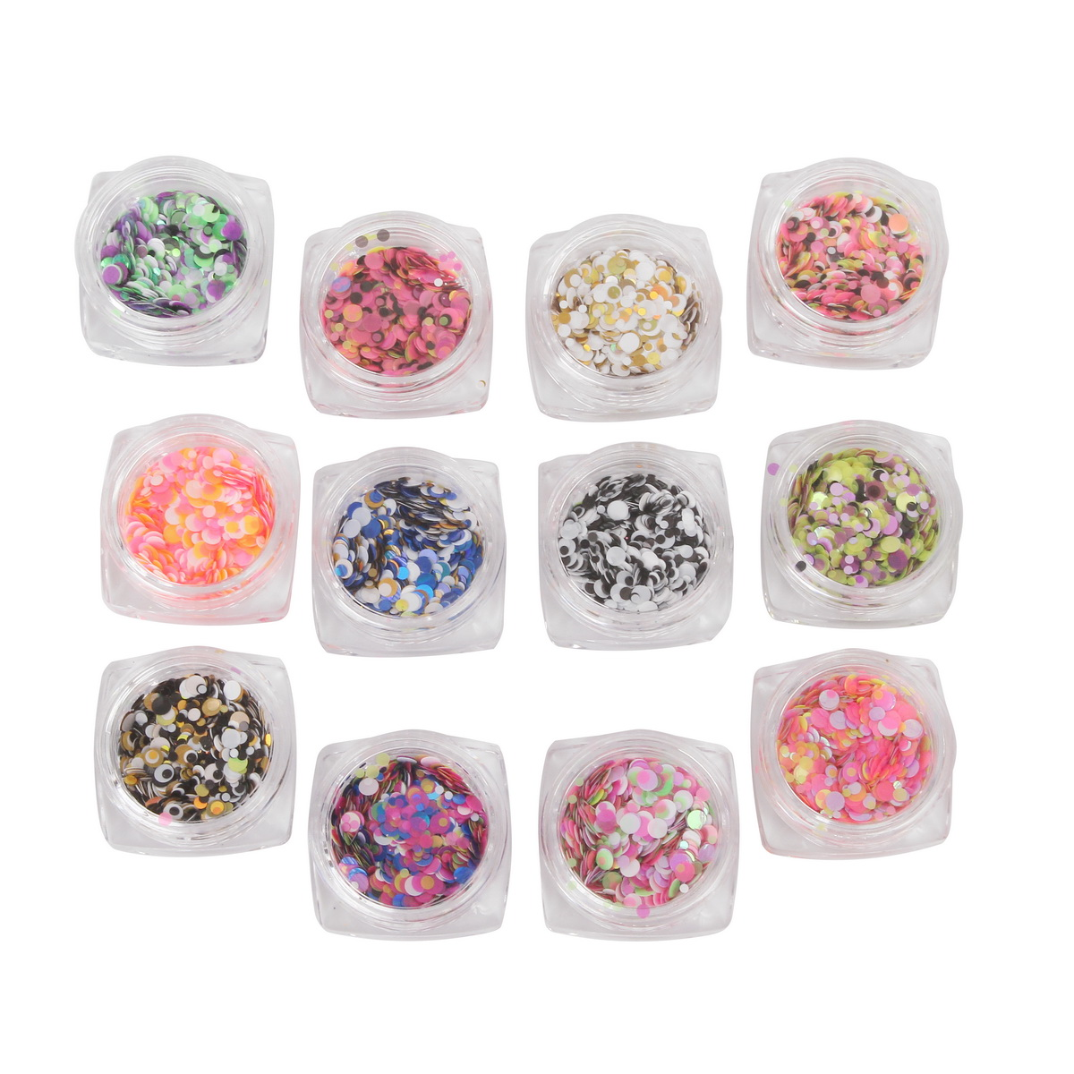 12pcs Nail Decoration Glitter Sequins Round Tips DIY Design Manicure Staff Colorful Ornaments