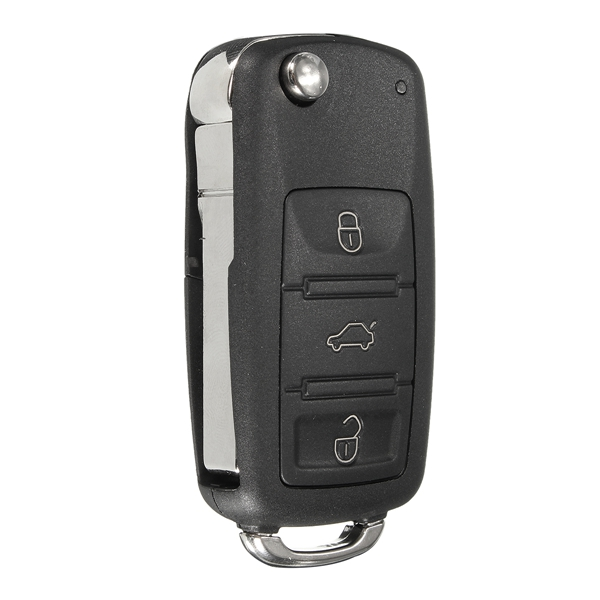 Car 4 Buttons Remote Key Black Shell Case Flip Uncut Blade for VW Touareg 2004-2011