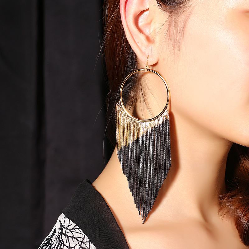 JASSY® Luxury Gold Gun Black Layered Plating Tassel Ear Drop
