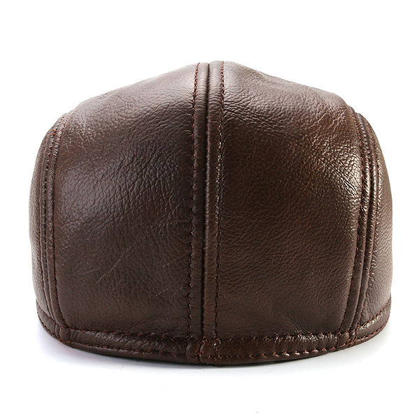 Mens Vintage Genuine Cowhide Beret Cap Earflaps Windproof Duckbill Warm Black Brown Hats