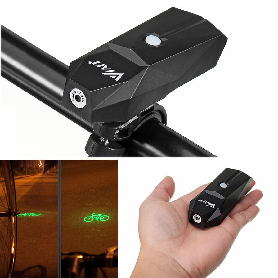Altoparlante VIAN 3 colori Laser Avvertimento di sicurezza della luce della bicicletta IP64 Impermeabile 42 g USB di ricarica