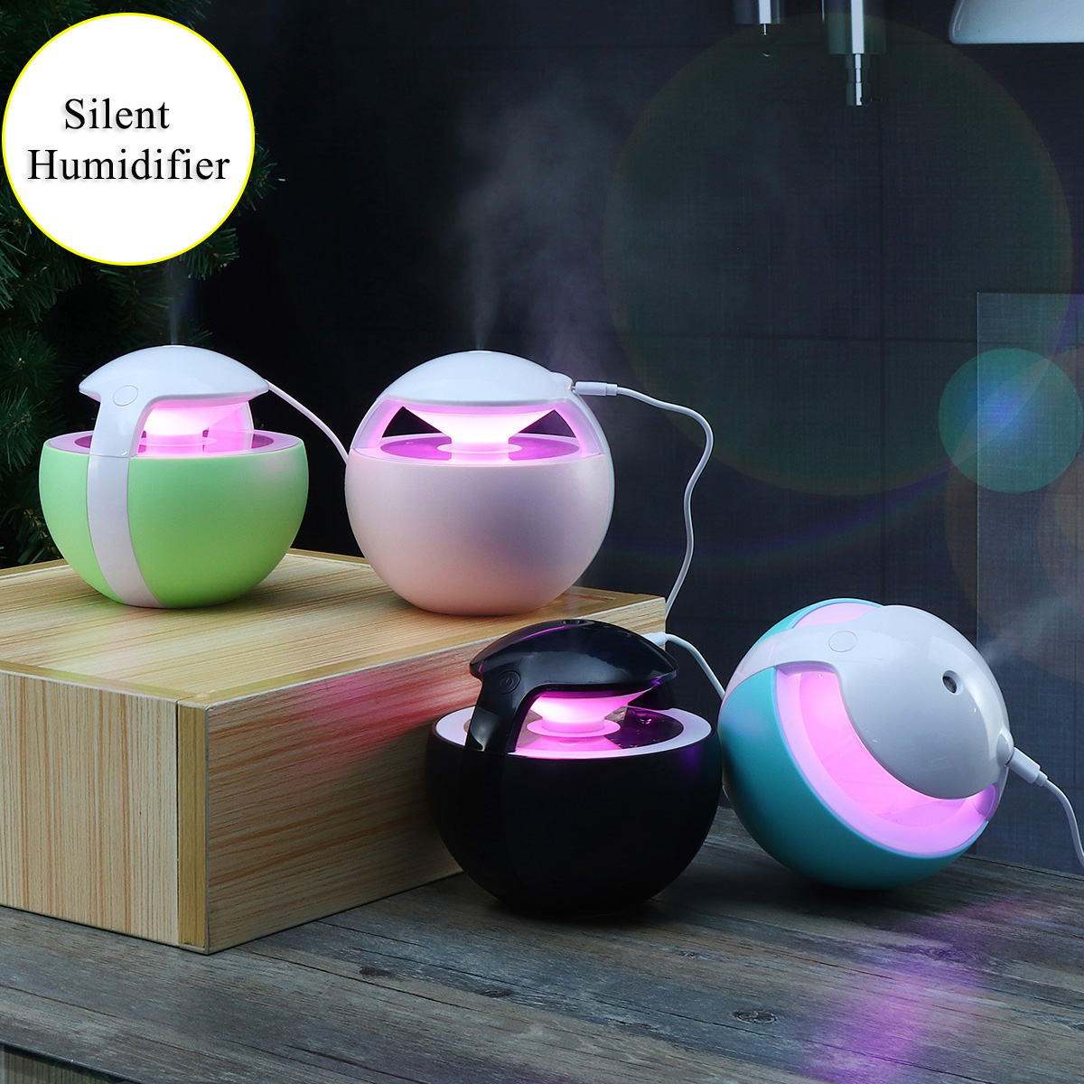 450ML Ball Humidifier with Aroma Lamp Essential Oil Ultrasonic Electric Diffuser Mini USB Air Fogger
