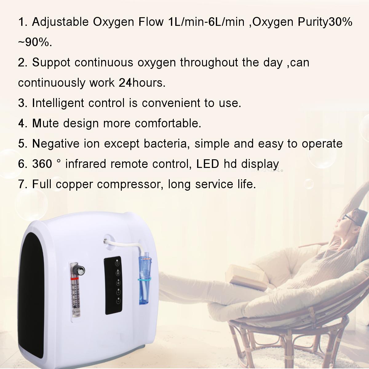 1-6LPM Portable Intelligent Oxygen Generator Concentrator Adjustable Machine Home Oxygen Machine