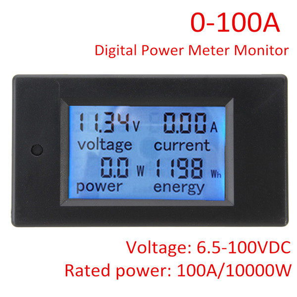 100A DC Digital Multifunction Power Meter Energy Volt Meterr Ammeter With 100A Shunt