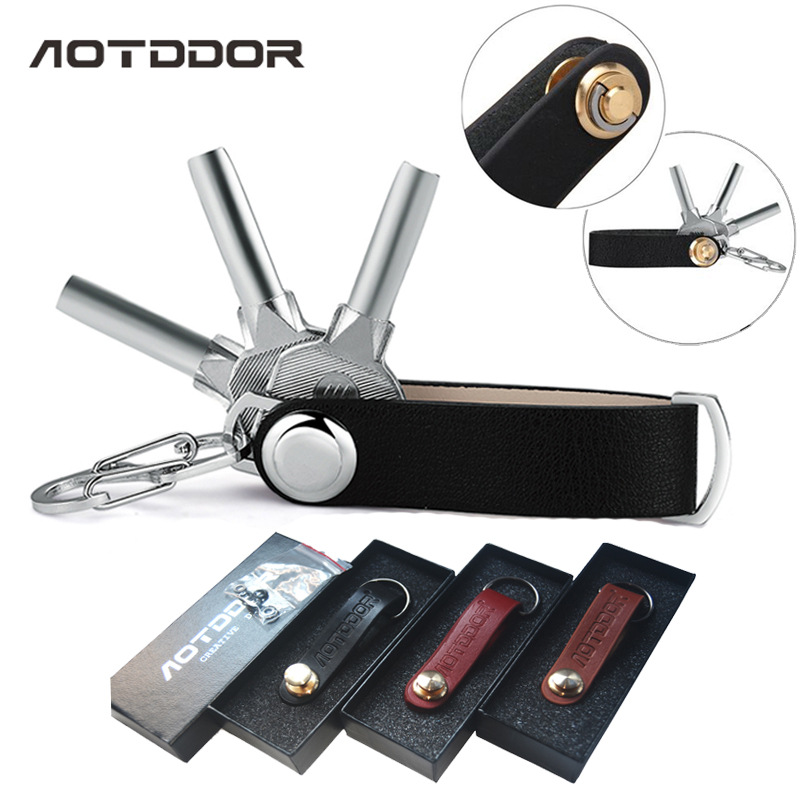 AOTDDOR® E2215 Leather Key Holder Key Accessories EDC Portable Equipment 3 Colors