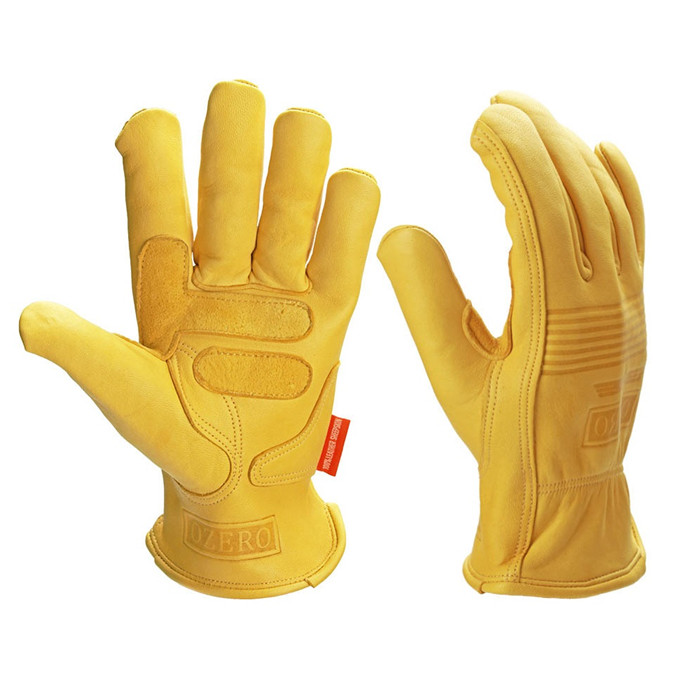 OZERO Men's Work Gloves Goat Leather Protection Safety Cutting Working Repairman Garage Racing Glove