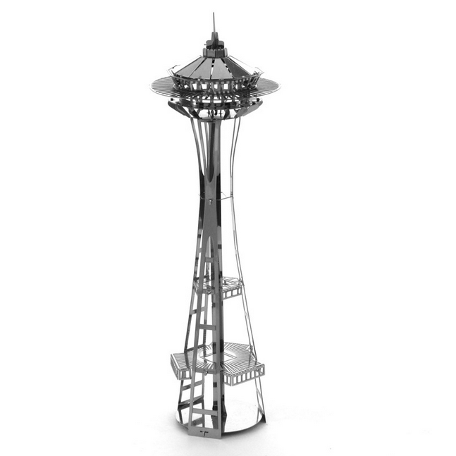 Aipin DIY 3D Puzzle Stainless Steel Model Kit Space Needle Silver Color