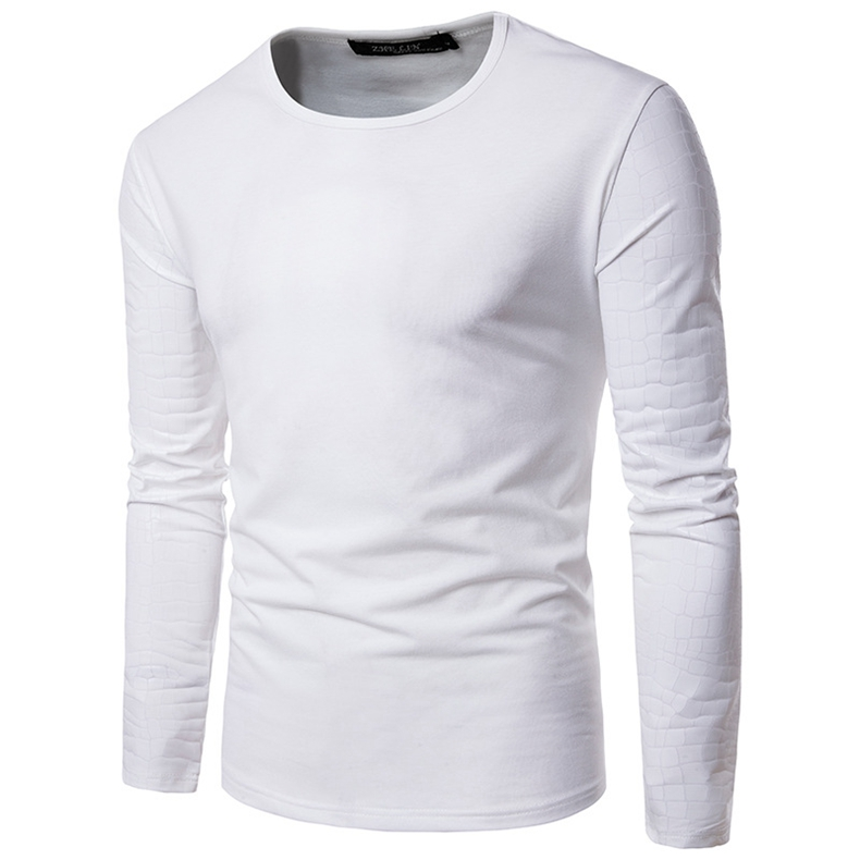 Personality Splicing Bright Solid Color T-shirt Men's Fashion Casual Round Neck Long Sleeve Tees