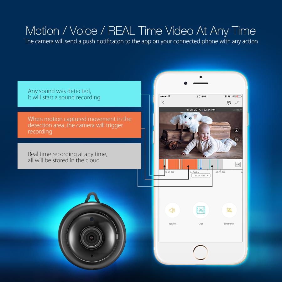 DigooDG-MYQОблачноехранилище2.1мм Объектив 720P WIFI Ночное видение Интеллектуальная домашняя безопасность IP камера Обнаружение