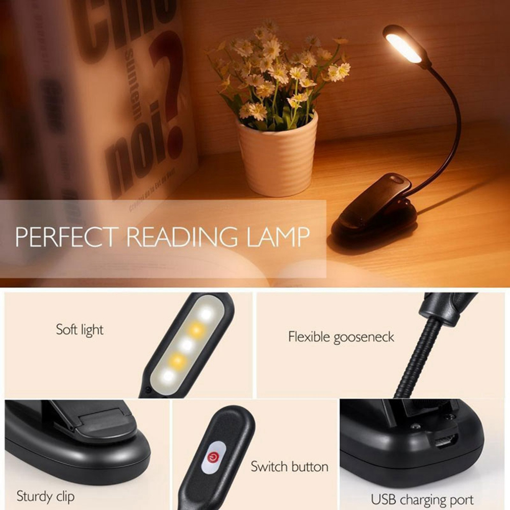 LUSTREON USB Rechargeable Flexible 1W 5 LED Clip Reading Night Light 3 Brightness Modes Table Lamp