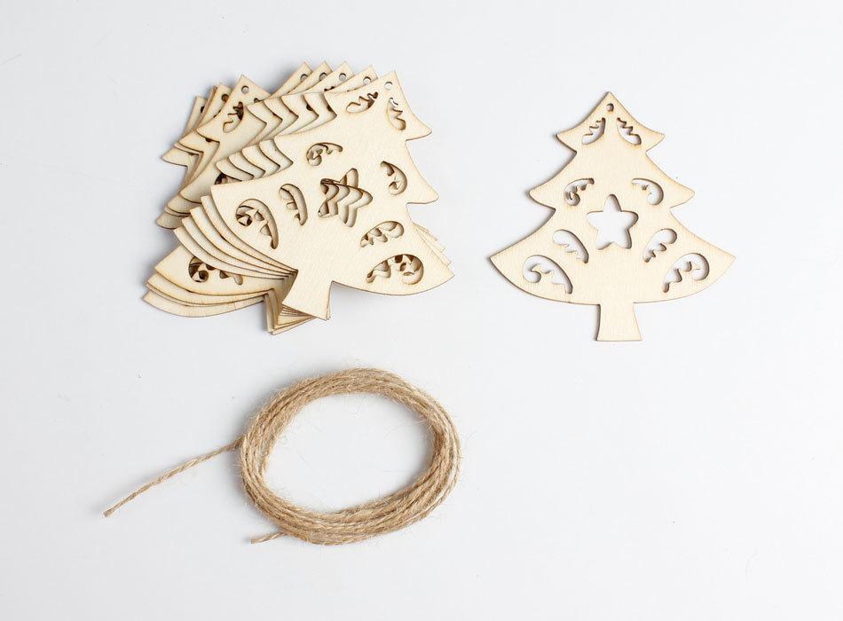 Christmas 10Pcs Wood DIY Banner Woodchips Garland Hanging Pendant Christmas Tree Ornaments Gift